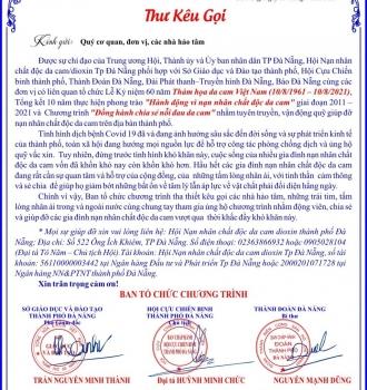 Thư kêu gọi ủng hộ, giúp đỡ nạn nhân chất độc da cam Đà Nẵng nhân kỷ niệm 60 năm thảm họa da cam Việt Nam